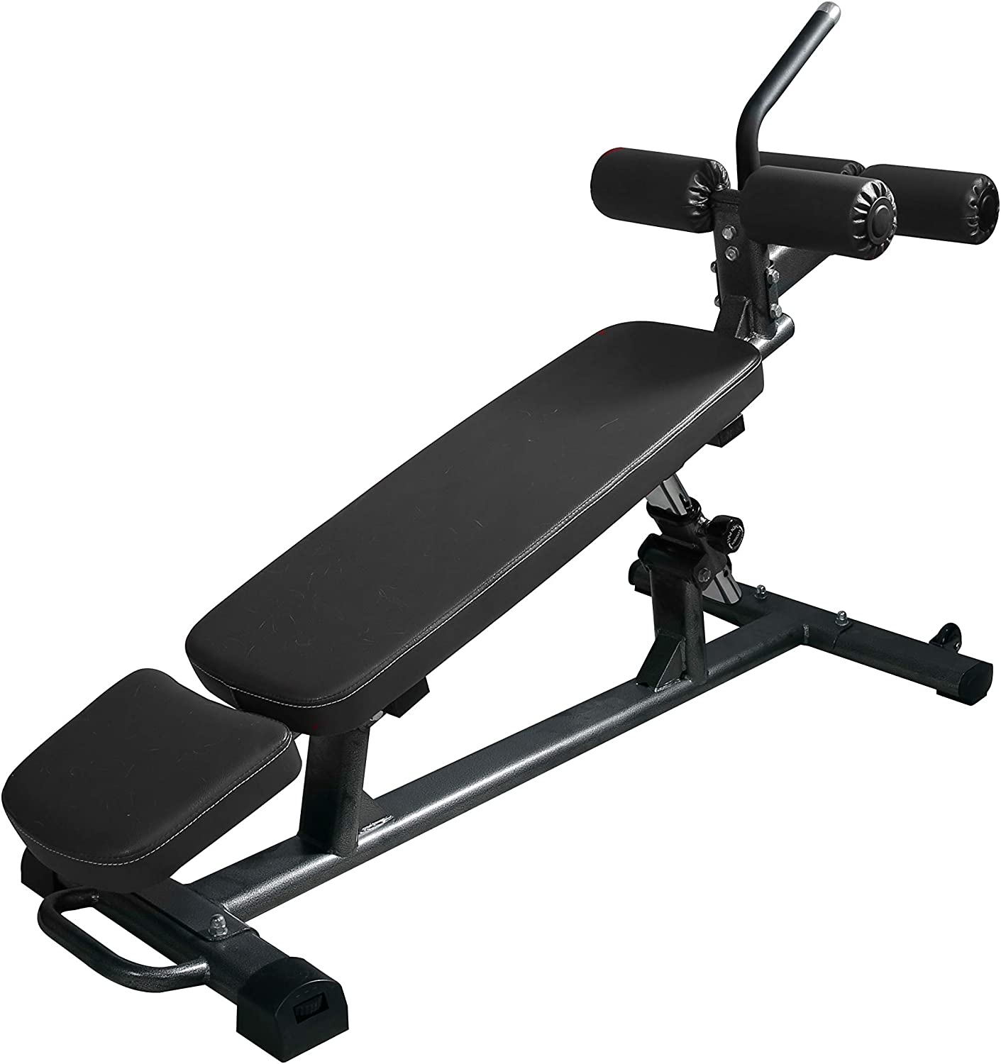 Amazon Com Finer Form Semi Commercial Sit Up Bench For Decline Bench Press And Core Workouts With Reverse Crunch Handle For Ab Exercises And 4 Adjustable Height Settings Black Sports Outdoors