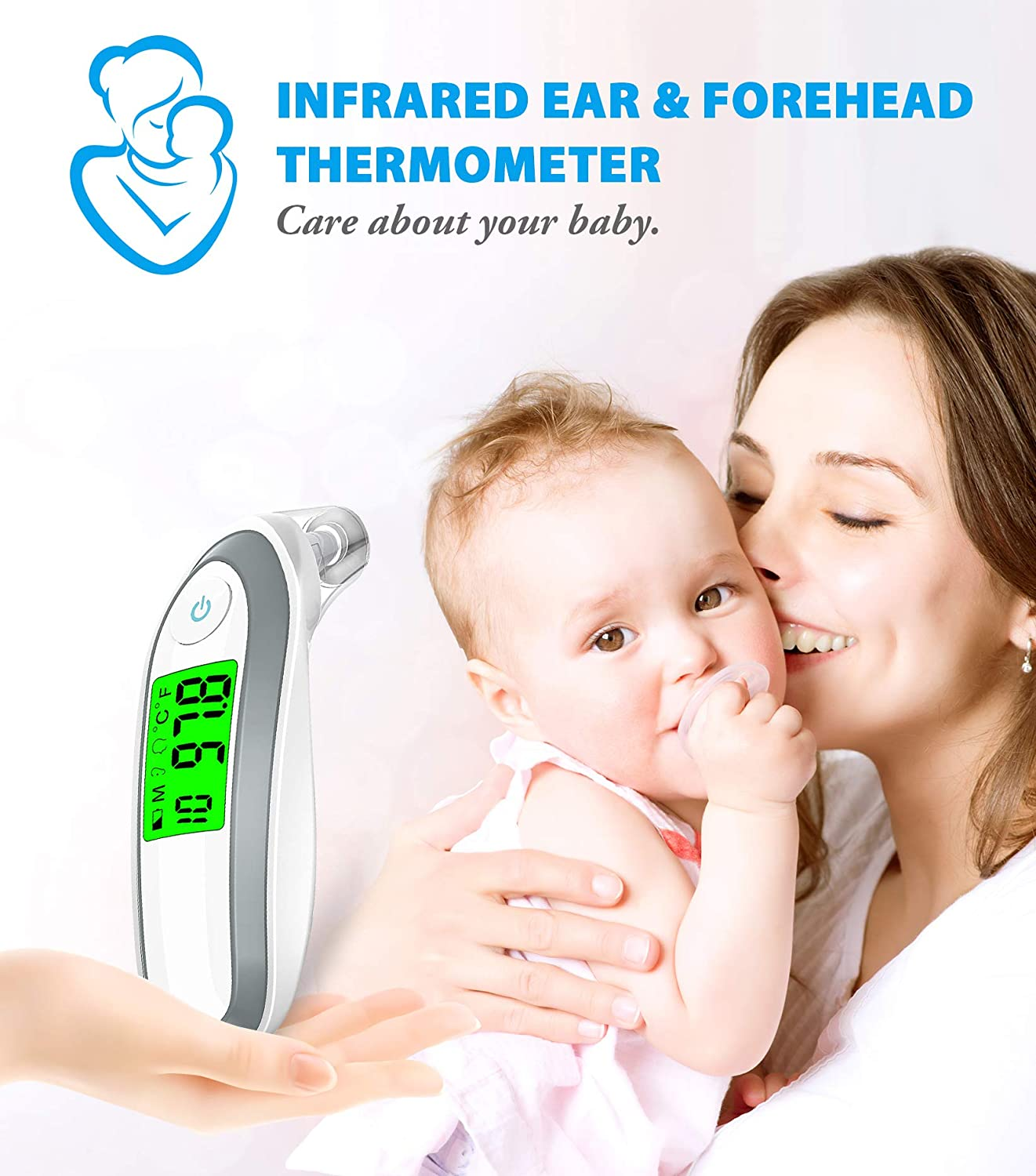 Amazon.com : Digital Forehead Thermometer Medical Baby Ear and Forehead Thermometer for Kids, FDA Approved for Fever, Fahrenheit and Celsius Convertible : ...