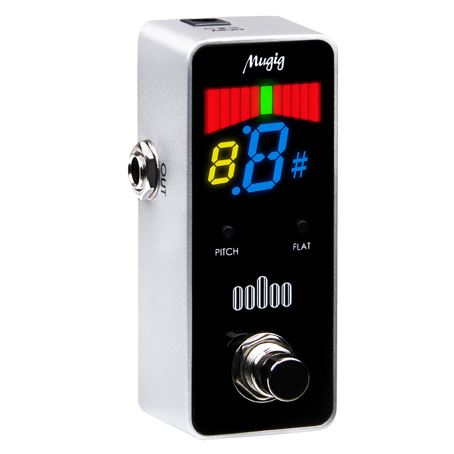 Tuner Pedal for Guitar and Bass - Mini - Chromatic - with Pitch Calibration and Flat Tuning by Mugig
