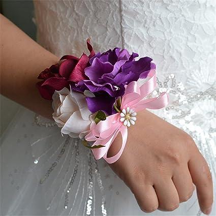 KUPARK 2pcs Artificial Sunflower Wedding Wrist Corsage Wrist Flower for Party Prom Wedding