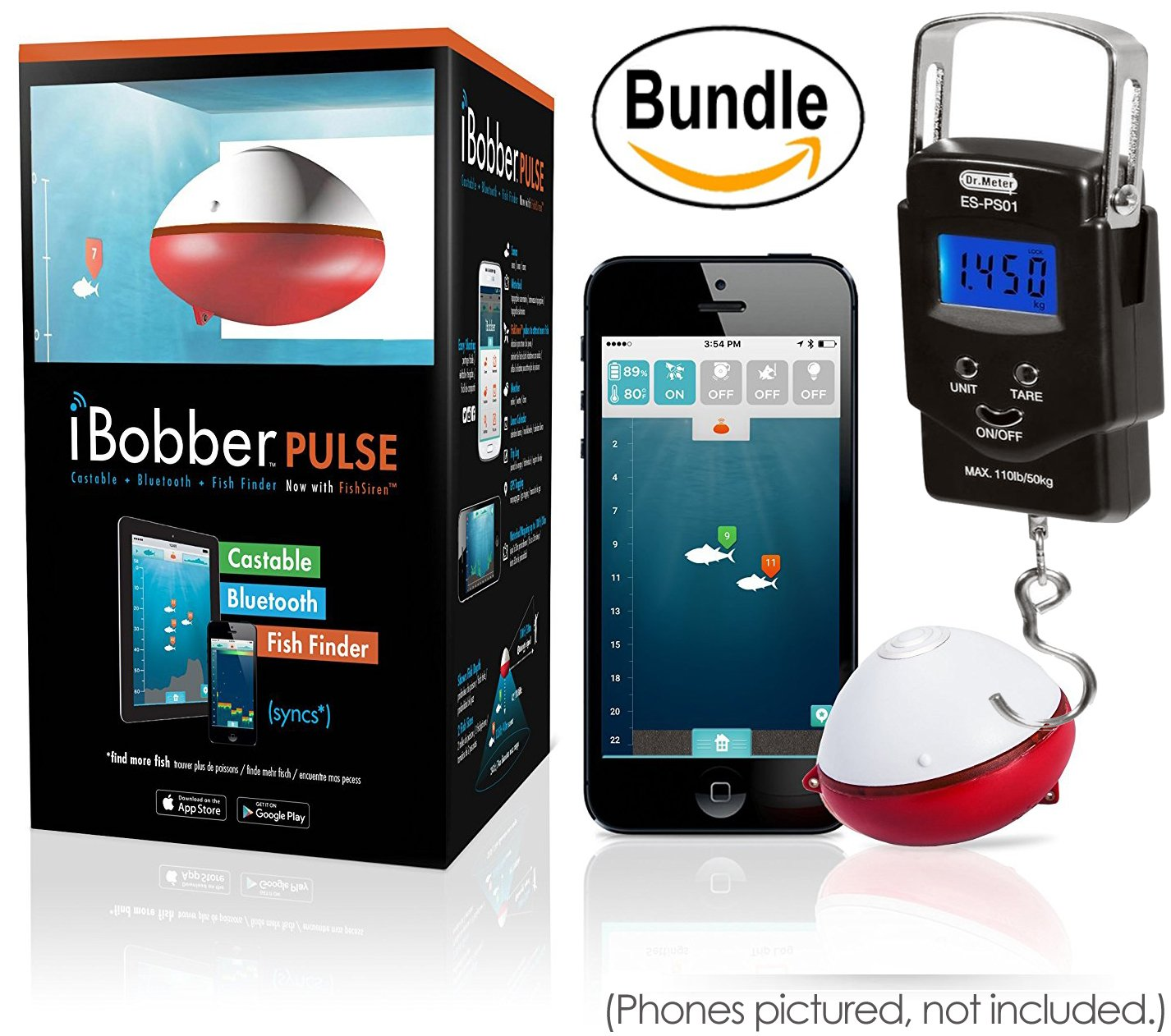 iBobber Pulse with Fish Attractor Wireless Bluetooth Smart Fish Finder for iOS and Android devices & Dr. Meter PS01 110lb/50kg Electronic Balance Digital Fishing Postal Hanging Hook Scale (Bundle) by iBobber Bundle
