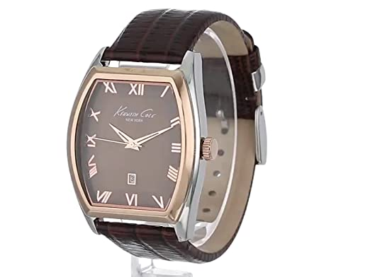 Amazon.com: Kenneth Cole New York Mens KC1891 Classic Silver Barrel Case Rose Gold Bezel Watch: Kenneth Cole: Watches
