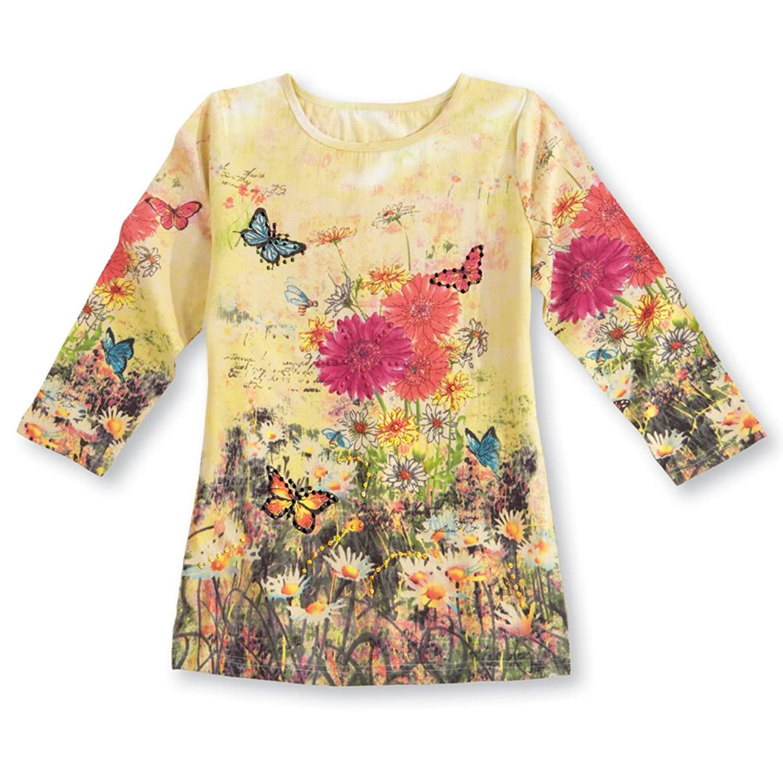 Collections Etc Women's Daisy Garden Scoop Neck Butterfly Top