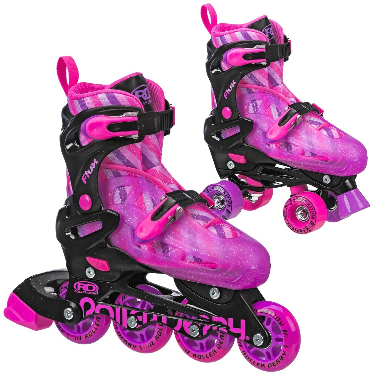 Roller Derby Kids Roller Skates with Interchangable Inline and Quad SkatesCombination Great for Beginners, Flux Derby Pinl