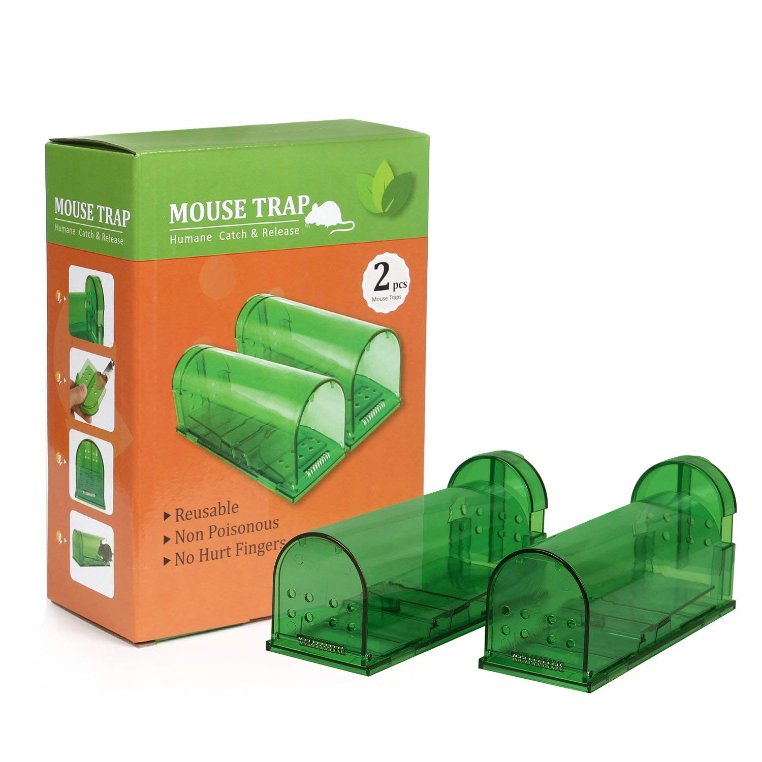 Aookey Humane Pack of 2 Reusable and Easy to Use Rat Snap Trap Safe for Children and Pets No Kill Mouse