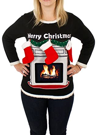 Ugly Christmas Sweater - Women's Lighted Fireplace Christmas ...