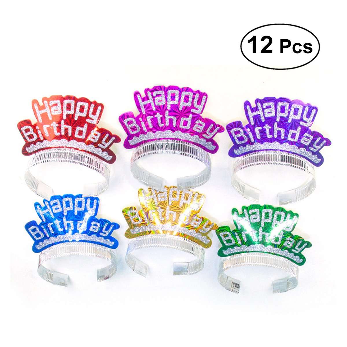 12Pcs Happy Birthday Shining Hats Head Decorations Accessories Headdress for Children Birthday Party (Assorted Colors)