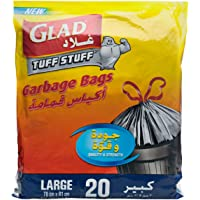 Glad Garbage Drawstring Black Large Bags, 110 L