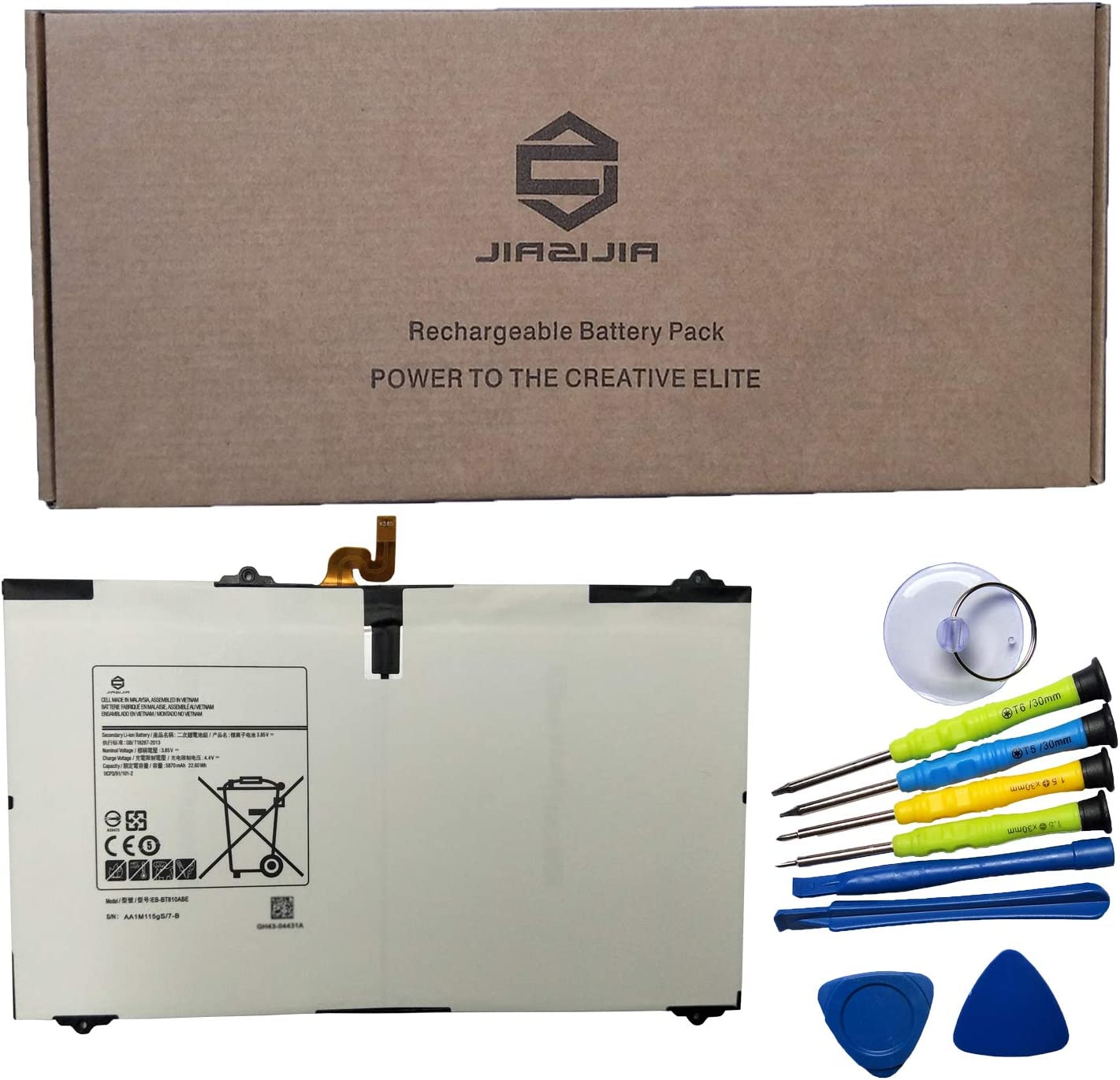 JIAZIJIA EB-BT810ABE Laptop Tablet Battery Replacement for Samsung Galaxy Tab S2 9.7 inch T817V T817 T815C T815 T813 T810 SM-T817W SM-T817T Series EB-BT810ABA White with Tools 3.85V 22.6Wh 5870mAh