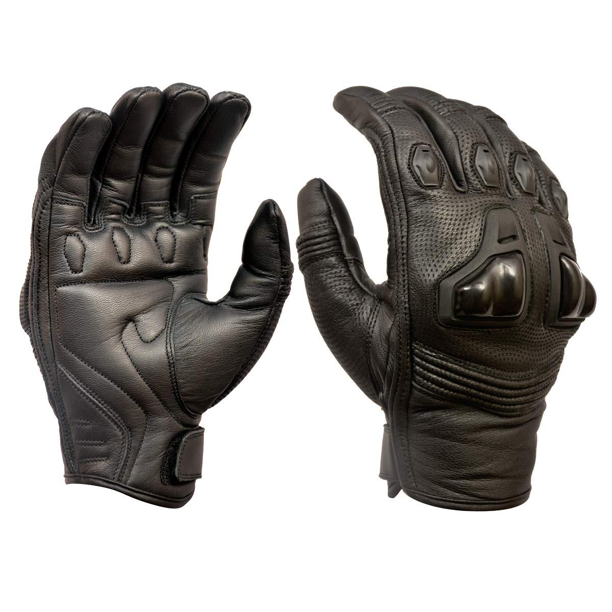 Royal Men Gear Gants de moto en cuir de qualit/é sup/érieure pour /écran tactile avec protection des phalanges