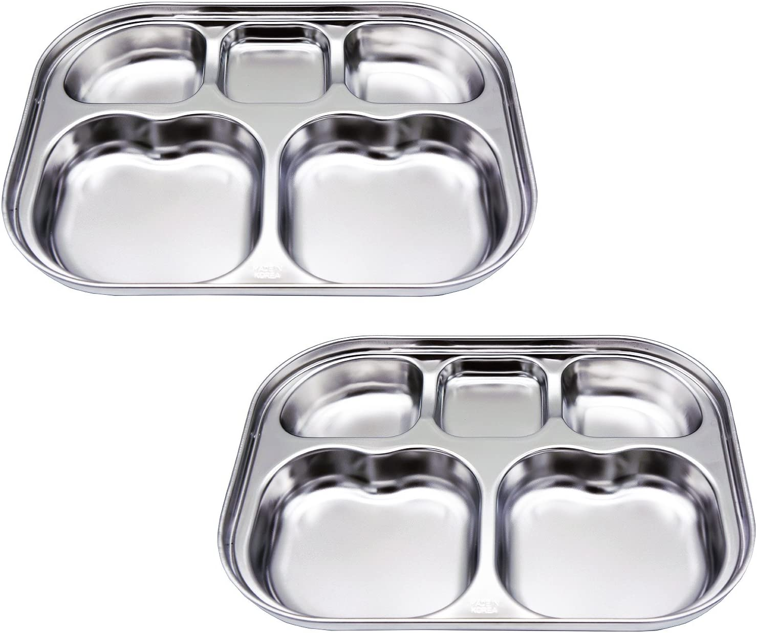 Stainless Steel Divided Plates by KS&E, Kids Toddlers Babies Tray, BPA Free, Diet Food Control, Camping Dishes, Compact Serving Platter, Dinner Snack, 5 Compartment Plate Silver, Set of 2