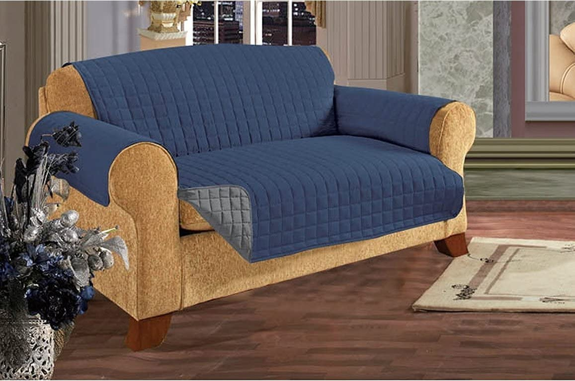 Empire Home Reversible Quilted Furniture Sofa / Love / Chair / Protector (Navy / Gray, Love Seat)