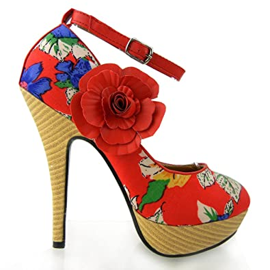 Amazon.com | Show Story Red Multi-color Floral Print Ankle Strap ...