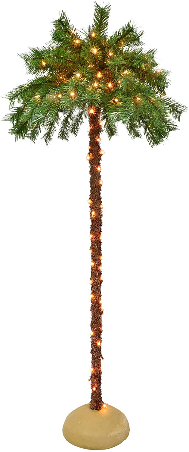 Puleo International 5 Foot Pre-Lit Artificial Palm Tree with 150 UL-Listed Clear Lights