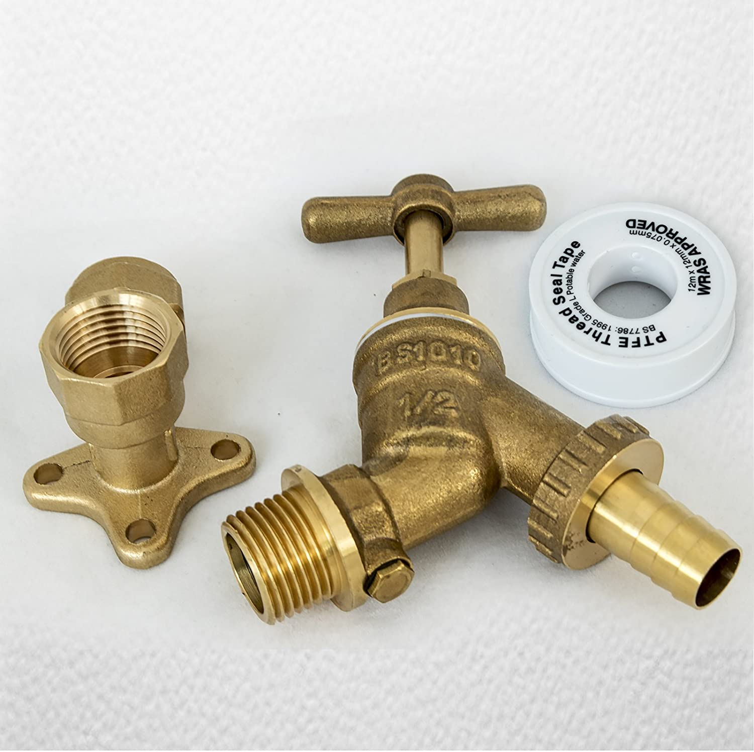 1/2-inch Brass Hose Union Bib Tap with Hose Adaptor: Amazon.co.uk ...