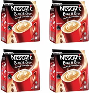 4 Pack Nescafe Original 3 in 1 Blend & Brew Instant Coffee Imported from Nestle Malaysia (4 x 28 Sticks)