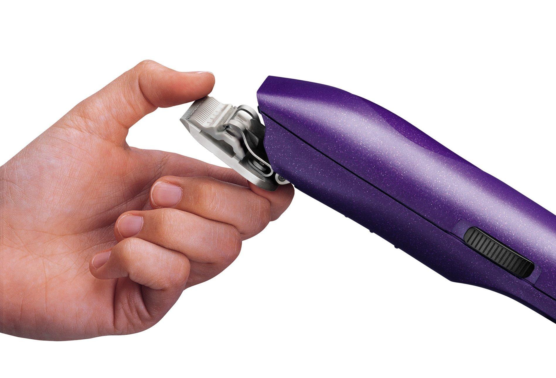Andis EasyClip Pro-Animal 7-Piece Detachable Blade Clipper Kit, Animal/Dog Grooming, Purple MBG-2 (21420)