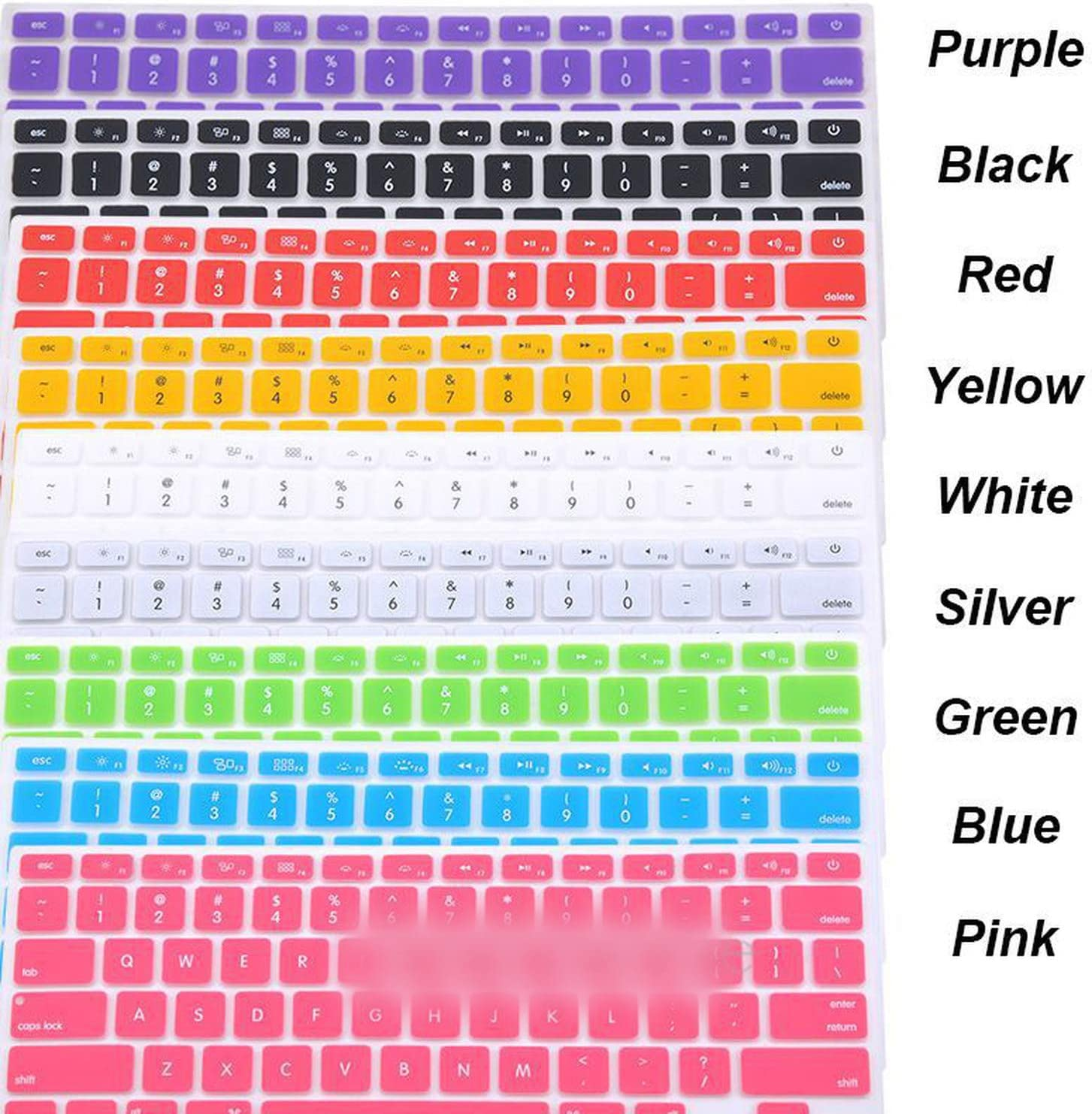 Silicone Keyboard Cover Protector Skin for Apple Pro 13 15 17, Pro Air 13 Soft Keyboard Stickers 9 Colors-in Keyboard Covers from Computer /& Office,Red