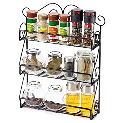 Buy Craftland 3 Tier Scroll Wall Mounted Shelf Spice Rack Storage Organizer For Kitchen Pantry Cabinet Counter Top Or Free Standing Black Can Hold Jars Upto 4 3 Inches In Height