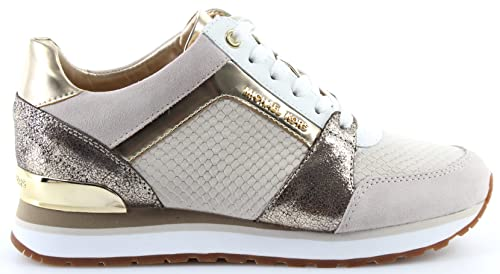 Michael Kors Billie Trainer Embossed Leather Ecru Gold-40: Amazon.es: Zapatos y complementos