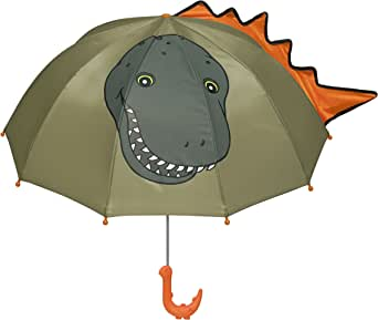 Kidorable Green Dinosaur Umbrella for Boys w/Fun Dino Handle, Pop-Out Spikes, Big Smile