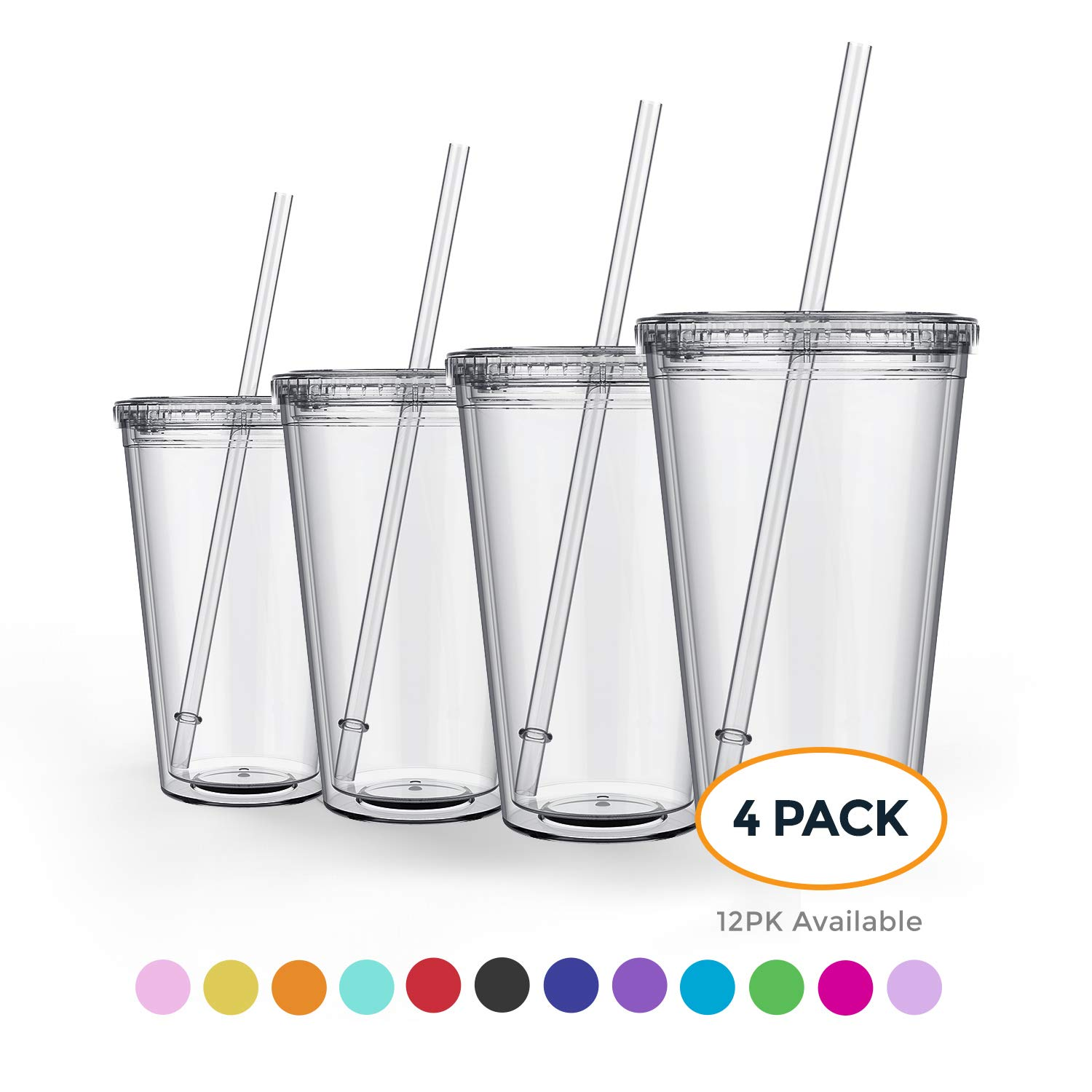 Maars Classic Insulated Tumblers 16 oz. | Double Wall Acrylic | 4 pack by Maars® Drinkware