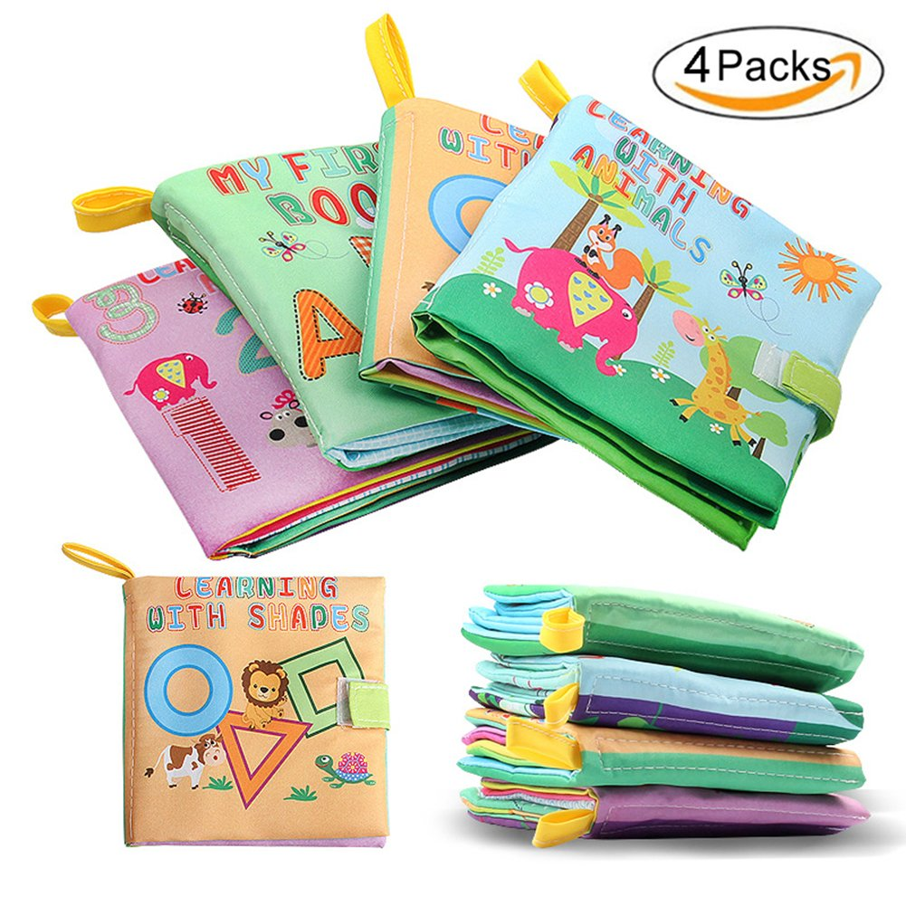 Original MY FIRST CLOTH BOOK---Learning Alphabet, Numbers, Shapes & Animals, Non-Toxic Fabric Baby Early Development Toy Educational Soft Books for Toddler,Infants and Kids