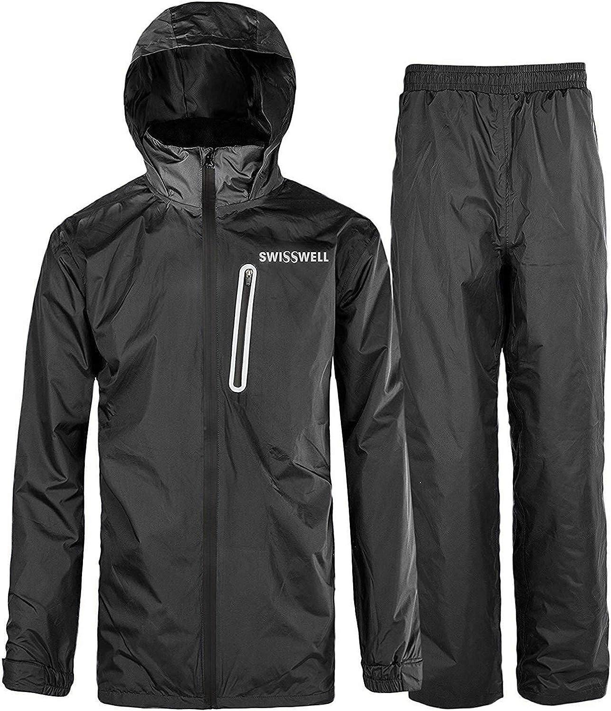 Mens Rainsuit Waterproof Storm Jacket/&Trouser Set Hoodie Coat Pants 2 Piece Suit