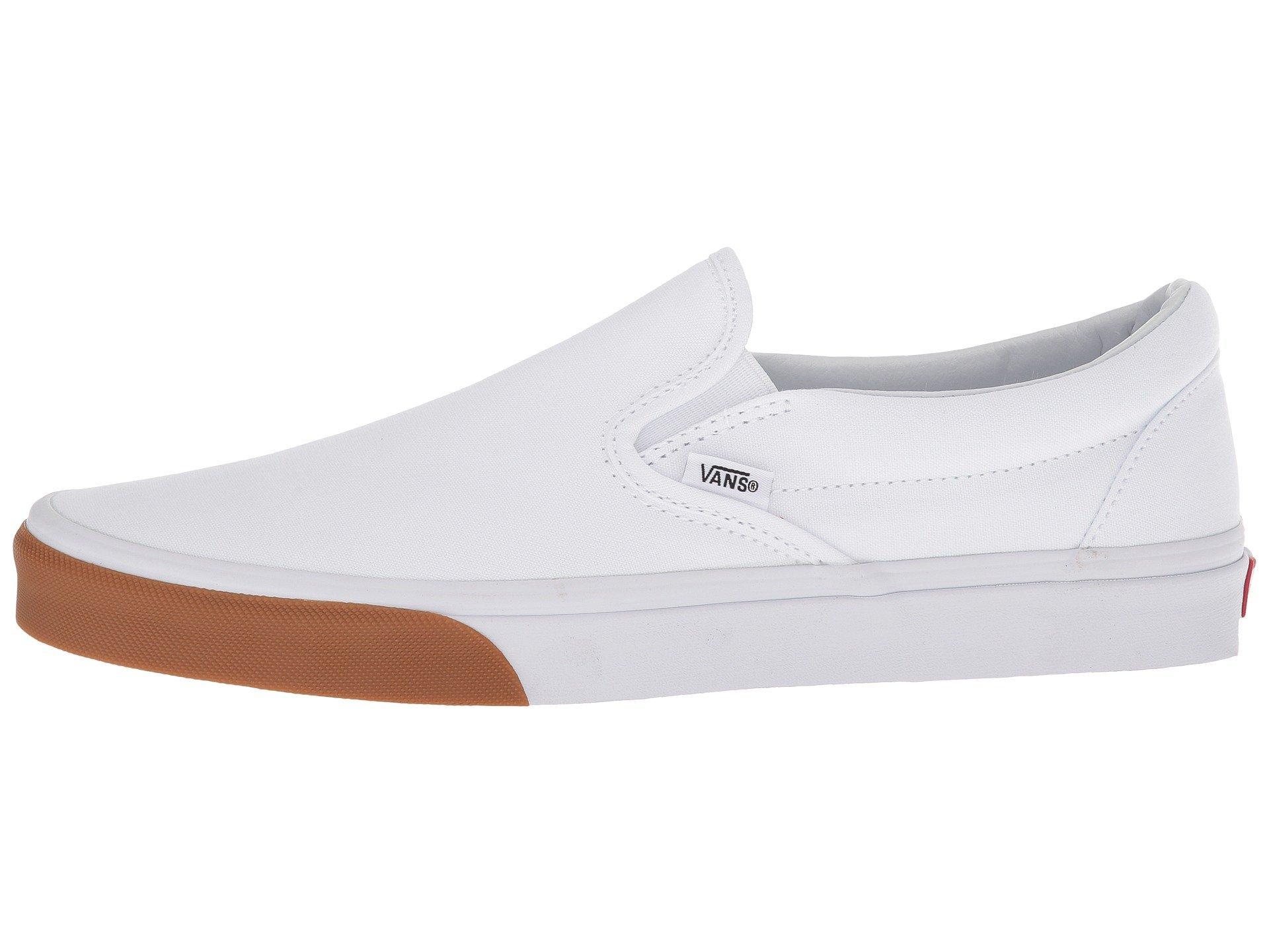 Vans Classic Slip-On Shoes (Gum Bumper) True White/True White, US Men 9/US Women 10.5