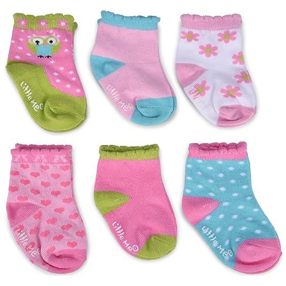 Amazon Com Little Me Baby Girls 12 Pack Socks Happy Owl Multi
