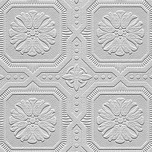 """Manhattan comfort NW48928 Nathan Series Vinyl Textured Paintable Squares Design Large Wallpaper Roll, 21"""" W x 33' L, White"""