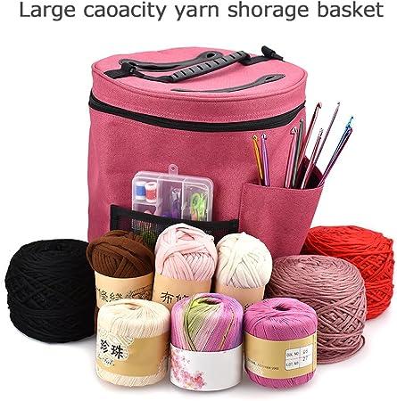 Bolsa de almacenamiento de ovillos de lana para tejer y hacer ganchillo, organizador de ovillos, con estuche para agujas: Amazon.es: Hogar