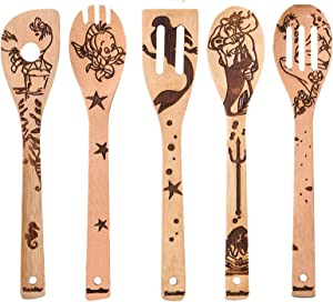 Organic Bamboo Spoons for Cooking DaceStar Personalized Cartton Pattern Kitchen Burned Utensils Spatula Household Items Non-stick Kitchen Cookware Ideal Housewarming Present for Family(5 Pieces)
