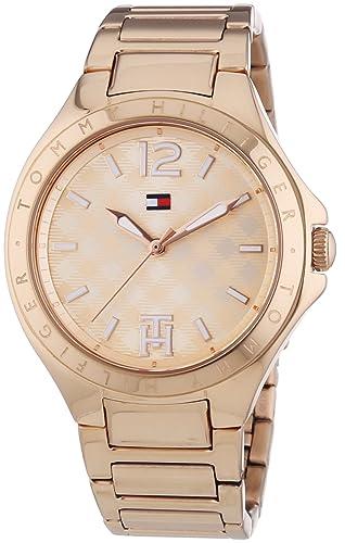 Tommy Hilfiger Averil - Reloj de cuarzo para mujer, con correa de acero inoxidable, color dorado: Amazon.es: Relojes