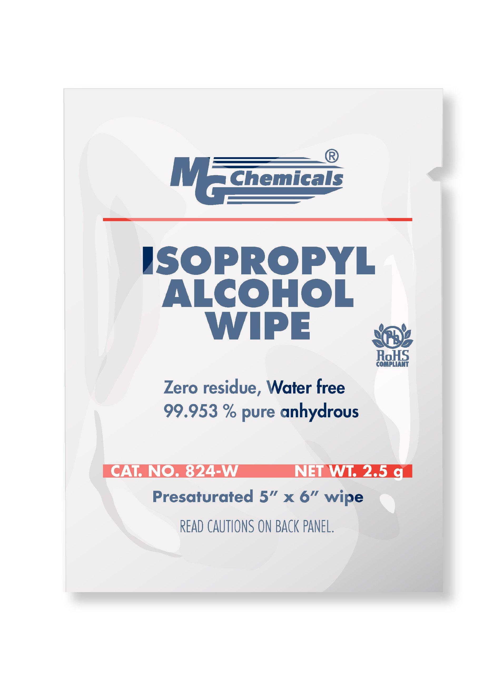 MG Chemicals 99.9% Isopropyl Alcohol Wipes, 6'' Length x 5'' Width (Box of 500)
