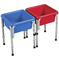ECR4Kids Assorted Colors Sand and Water Adjustable Activity Play Table Center with Lids, Square (2-Station)