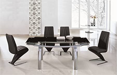 Remarkable Ij Interiors Donato Extending Glass Chrome Dining Table Machost Co Dining Chair Design Ideas Machostcouk
