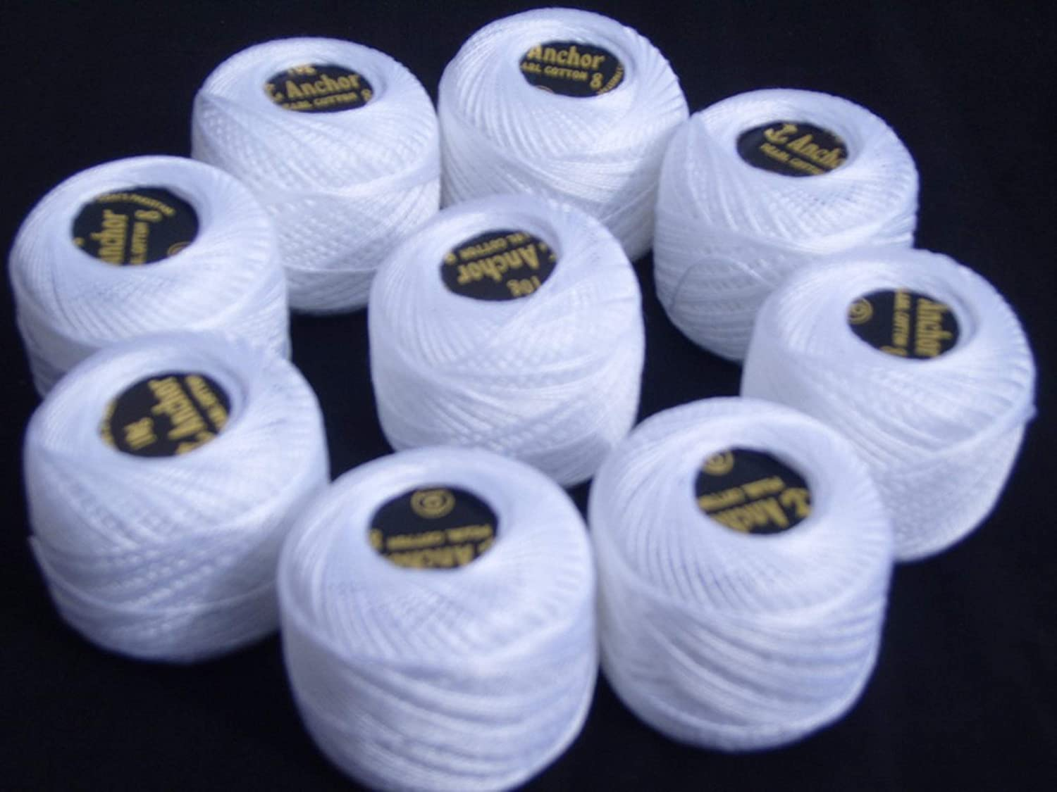 WHITE Size 8 10 ANCHOR Pearl Cotton Balls. 85 Meters each by GCS London