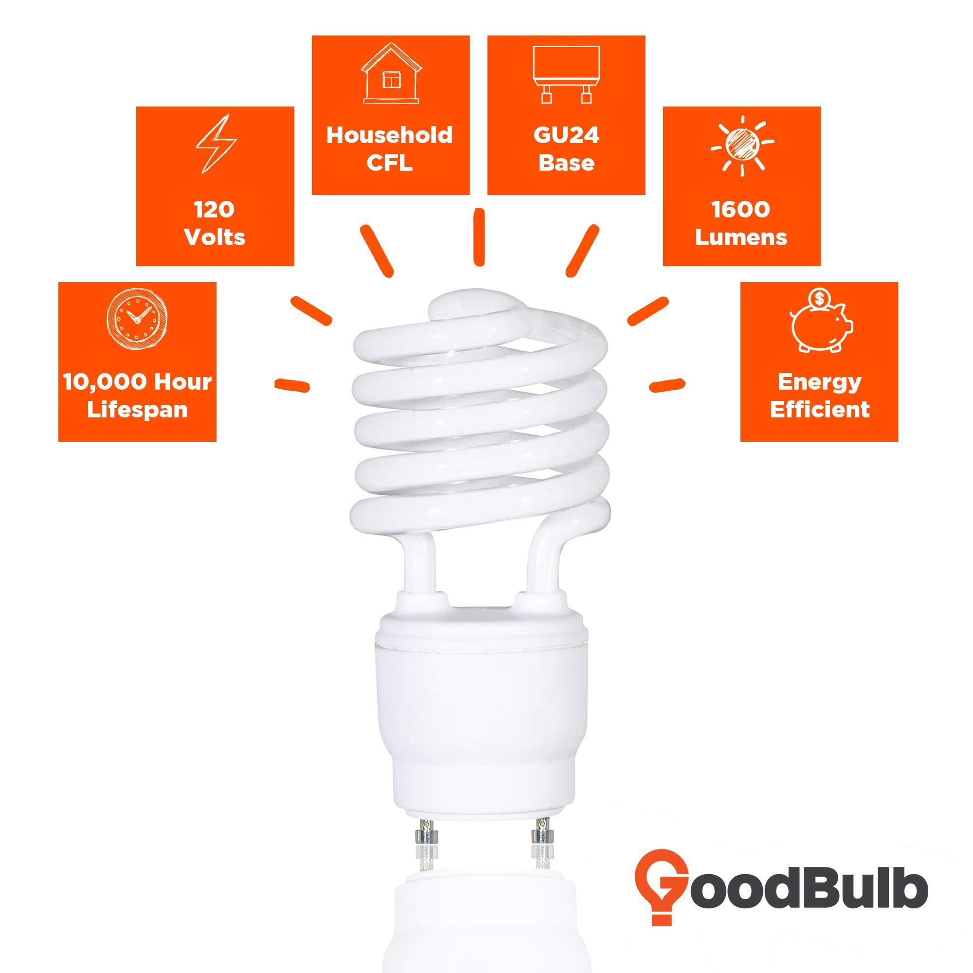 GoodBulb 23 Watt CFL Light Bulbs - T2 Spiral Compact Fluorescent - GU24 Light Bulb Base - 2700K 1600 Lumens - 4 Pack by GoodBulb (Image #3)