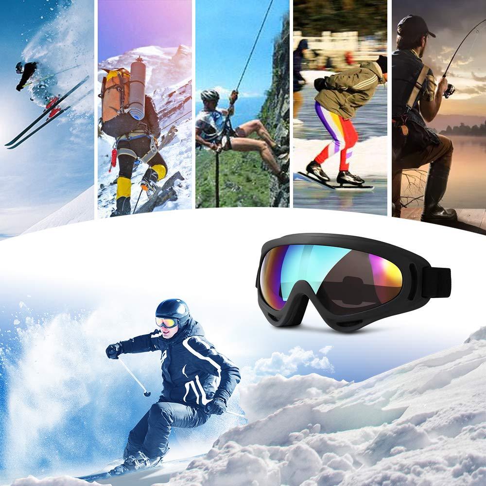 Snowboard Motociclismo Y Deportes De Invierno,Uv400 Ajustable Protecci/óN A Prueba De Viento A Prueba De Polvo Gafas De Sol Anti Niebla TERAISE Gafas De Esqu/í Gafas De Nieve Para Esqu/í