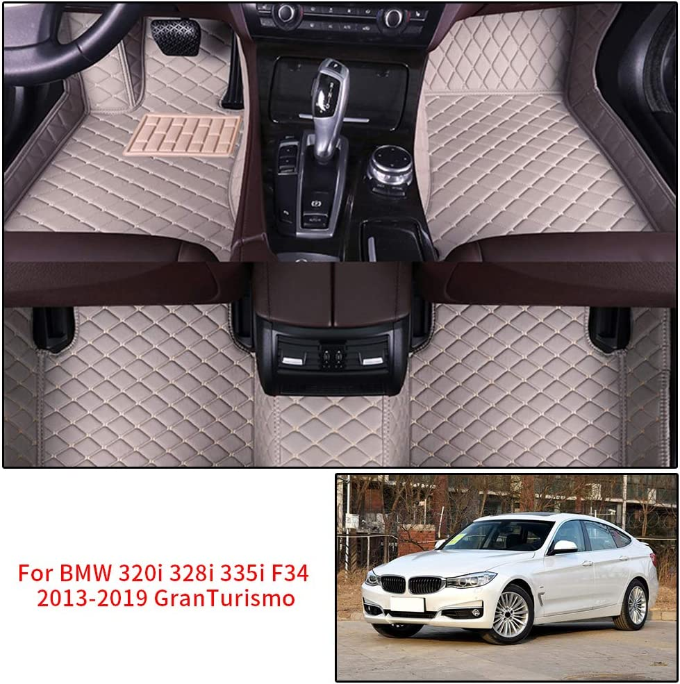 Car Floor Mats for BMW 3 Series GT GranTurismo F34 320i 328i 335i 2013-2019 2014 2015 2016 2017 2018 Full Covered Advanced Leather Carpet Auto All Weather Protection Front /& Rear Liner Red