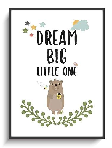 Wandgestaltung Kinderzimmer DIN A4 Bär Dream Big Spruch ...