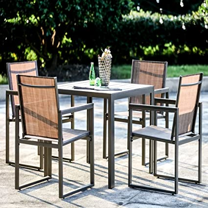 Amazon Com High Top Patio Table And Chairs Set For Indoor And