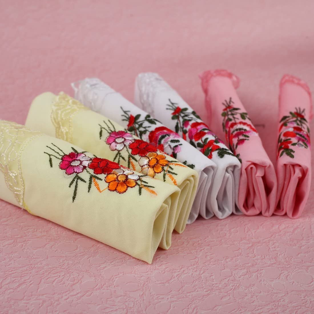 FEC0202 White Light Yellow Hanky Red Patterned Light Pink Pure Cotton Various World Wide 6 Handkerchiefs Set By FashionOn