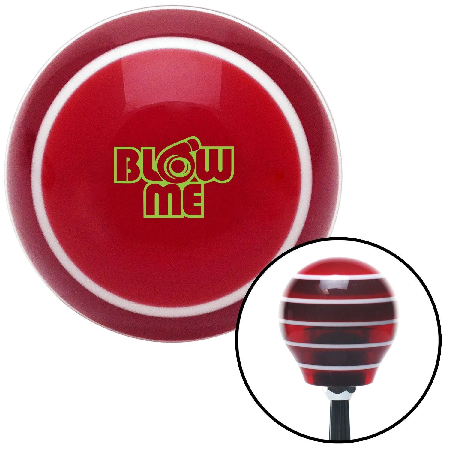 Green Blow Me Red Stripe with M16 x 1.5 Insert American Shifter 274476 Shift Knob