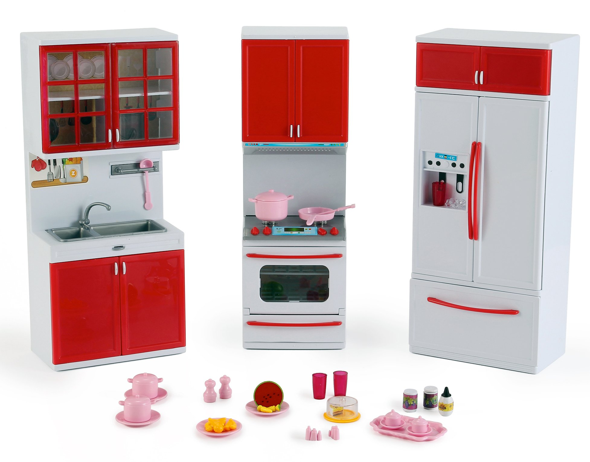 Liberty Imports Gourmet Red Kitchen Mini Toy Playset with Lights and Sounds, Perfect for 12 inches Dolls