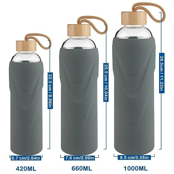 FCSDETAIL Botella de Agua de Cristal sin BPA, Botella de Agua de Vidrio de Borosilicato con Funda de Silicona con Tapa de Bambú 420ml / 660ml / 1000ml: ...