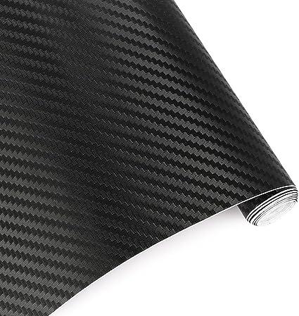 para Interior//Exterior Negro 1500 X 300 mm TRIXES 2PC 3D Vinilo de Fibra de Carbono Envoltura Adhesiva para Coche Efecto Texturizado 3D para Autom/óvil