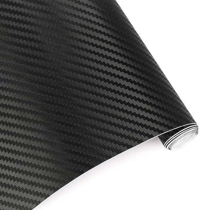 TRIXES 2PC 3D Vinilo de Fibra de Carbono Envoltura Adhesiva para Coche - 1500 X 300 mm - Negro - para Interior/Exterior - Efecto Texturizado 3D para Automóvil: Amazon.es: Coche y moto