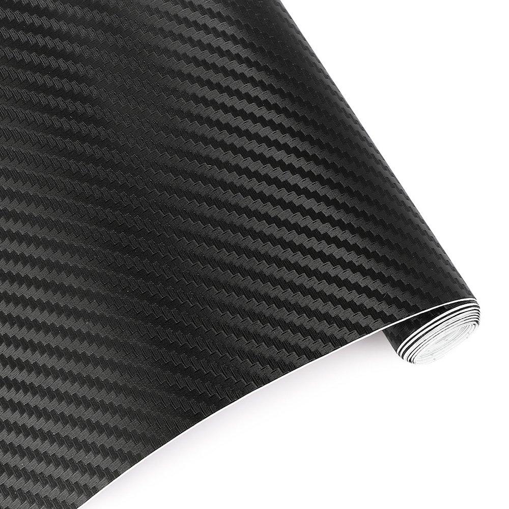 TRIXES 2PC Adh/ésif 3D Fibre Carbone Vinyle emballer Voiture Autocollant 1500 mm x 300 mm